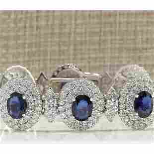 27.75 CTW Natural Sapphire And Diamond Bracelet In 14K