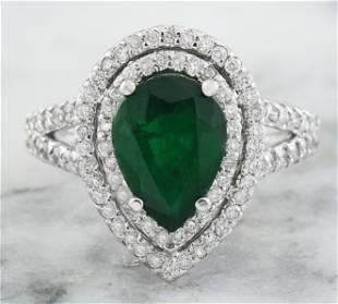 2.90 CTW Emerald 18K White Gold Diamond Ring