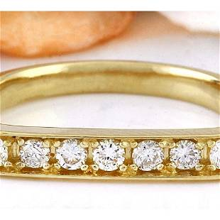 0.50 CTW Natural Diamond 14K Solid Yellow Gold Ring