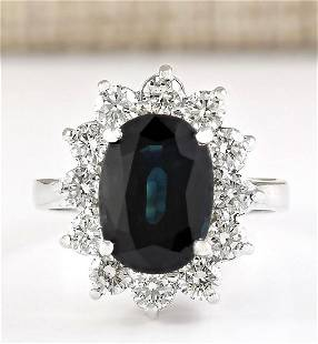 5.77 CTW Natural Blue Sapphire And Diamond Ring In 14k