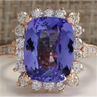 6.89 CTW Natural Blue Tanzanite And Diamond Ring 18K