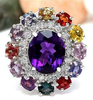 12.10 CTW Natural Amethyst, Sapphire 18K Solid White