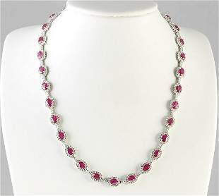 28.20 CTW Natural Ruby And Diamond Necklace In 14k