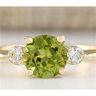 1.40 CTW Natural Peridot And Diamond Ring In 14k White