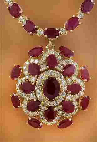 43.35 CTW Ruby 18K Yellow Gold Diamond Necklace