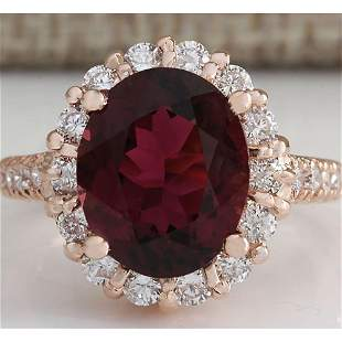 5.50CTW Natural Red Tourmaline And Diamond Ring 14K