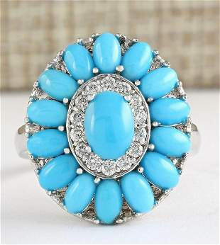 3.63 CTW Natural Turquoise And Diamond Ring In 14k