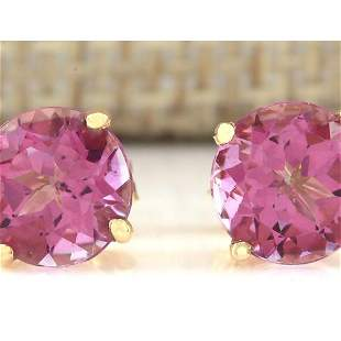 3.00 CTW Natural Pink Tourmaline Earrings 18K Solid