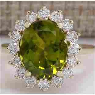 5.53 CTW Natural Green Peridot And Diamond Ring 14K