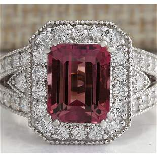 5.78 CTW Natural Pink Tourmaline And Diamond Ring 14K