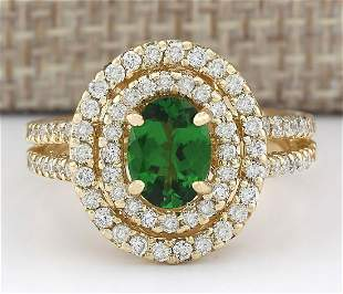 2.25 CTW Natural Tsavorite And Diamond Ring In 14k