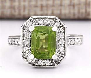 3.67 CTW Natural Peridot And Diamond Ring In 14k White