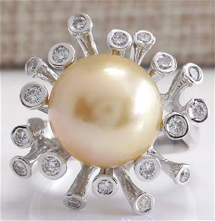 0.80 CTW Natural 13.17mm Gold South Sea Pearl Diamond