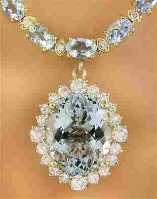 41.26 CTW Aquamarine 18K Yellow Gold Diamond Necklace