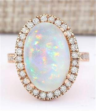 7.92 CTW Natural Opal And Diamond Ring In 18K Rose Gold