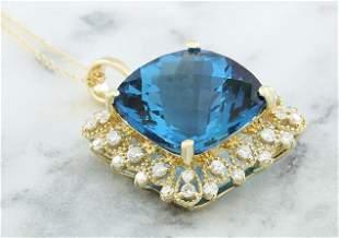 17.52 CTW Topaz 14K Yellow Gold Diamond Necklace