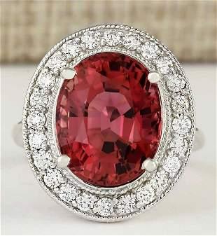 9.50 CTW Natural Pink Tourmaline And Diamond Ring 14k