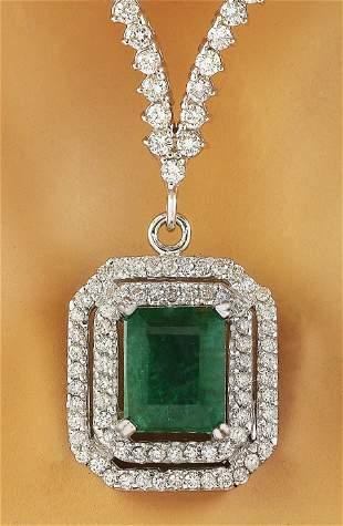 8.20 CTW Emerald 18K White Gold Diamond Necklace