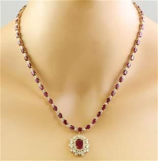 33.63 CTW Ruby 14K Yellow Gold Diamond Necklace