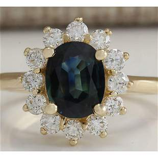 2.93 CTW Natural Blue Sapphire And Diamond Ring 14K