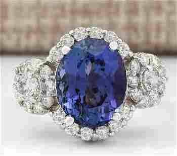 5.32 CTW Natural Blue Tanzanite And Diamond Ring 14k
