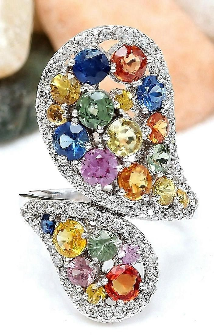 5.33 CTW Natural Sapphire 14K Solid White Gold Diamond