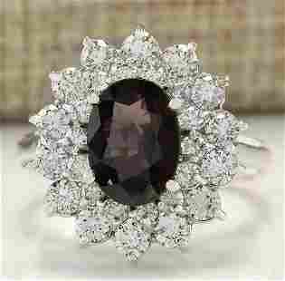 3.39 CTW Natural Burgundy Sapphire And Diamond Ring In