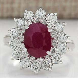 3.73 CTW Natural Ruby And Diamond Ring 18K Solid White