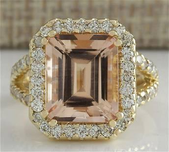 6.92 CTW Natural Peach Morganite And Diamond Ring In