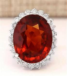 19.59 CTW Natural Hessonite Garnet And Diamond Ring In