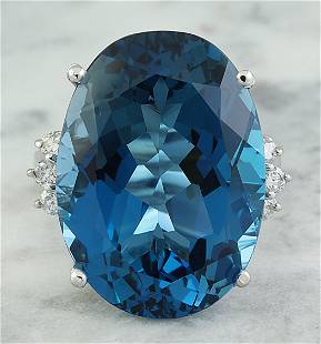 25.30 CTW Topaz 18K White Gold Diamond ring