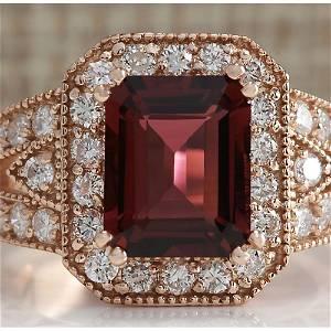 3.89 CTW Natural Pink Tourmaline And Diamond Ring 14K