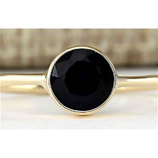 1.00 CTW Natural Blue Sapphire Ring In 18K Yellow Gold