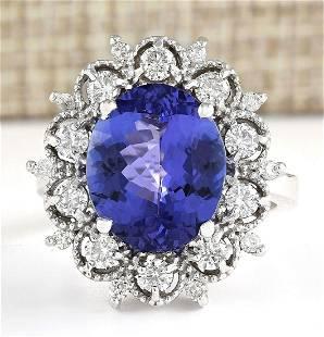 6.47 CTW Natural Blue Tanzanite And Diamond Ring 14k
