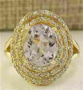 6.07 CTW Natural Peach Morganite And Diamond Ring In
