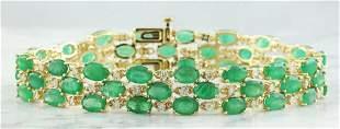 22.88 CTW Emerald 18K Yellow Gold Diamond Bracelet
