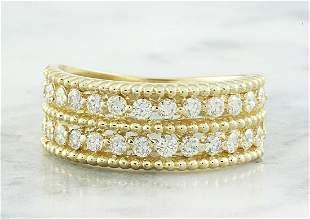 0.66 CTW Two Row Diamond 14K Yellow Gold Ring