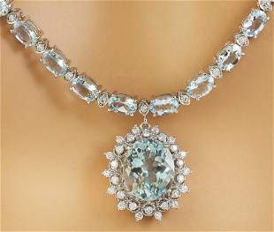 32.04 CTW Aquamarine 18K White Gold Diamond necklace
