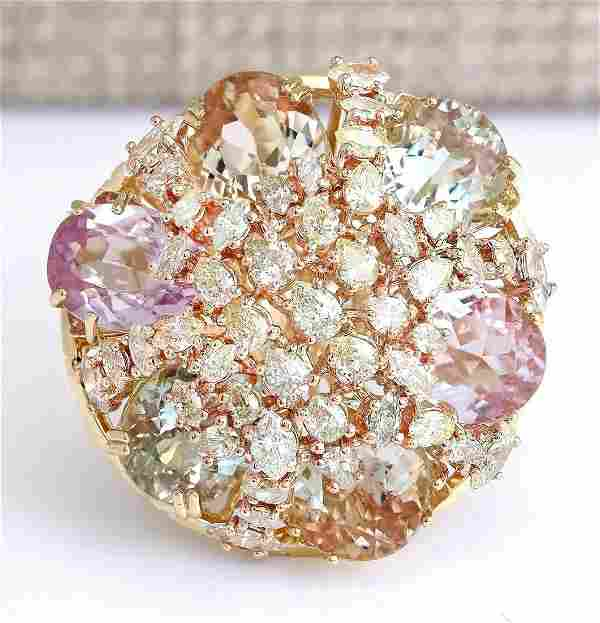 26.40 CTW Natural Multi-stone And Diamond Ring In 14k