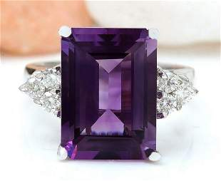 7.55 CTW Natural Amethyst 14K Solid White Gold Diamond
