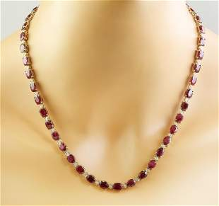 42.80 CTW Ruby 14K Yellow Gold Diamond Necklace