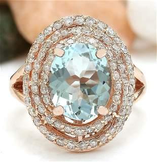 4.27 CTW Natural Aquamarine 14K Solid Rose Gold Diamond