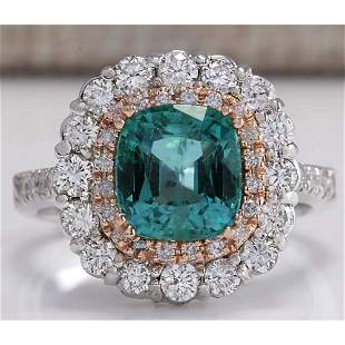 3.26CTW Natural Emerald And Diamond Ring 18K Solid