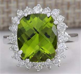 5.93 CTW Natural Peridot And Diamond Ring 18K Solid