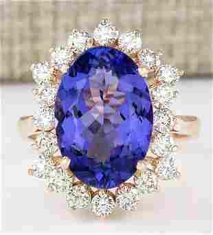 7.50 CTW Natural Blue Tanzanite And Diamond Ring 14k