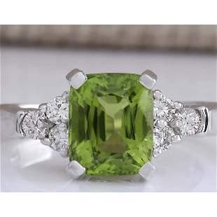 3.38 CTW Natural Green Peridot And Diamond Ring 18K