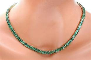 48.00 CTW Natural Emerald 18K Solid Yellow Gold