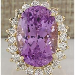 26.27 CTW Natural Kunzite And Diamond Ring In 18K