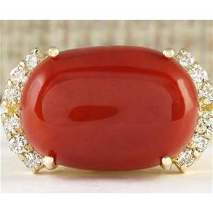 10.34 CTW Natural Coral And Diamond Ring In 14k Yellow