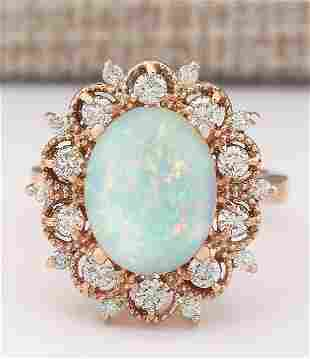 4.15 CTW Natural Opal And Diamond Ring In 18K Rose Gold